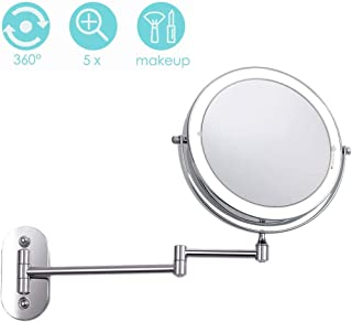 Makeup Mirror Wall Mounted Makeup Mirror with Lights and Magnification, Two-Sided Swivel Touch Button Adjustable Light Powered by 4 x AAA Batteries (Not Included)
