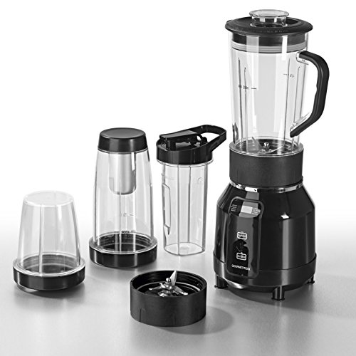 GOURMETmaxx 00772 Nutrition Mixer Pro | mit Heizfunktion |inkl. Rezeptheft & To-Go Becher | Ideal für Suppen & Smoothies | 12 teiliges Set | 8 Funktionen | 700 Watt | Schwarz