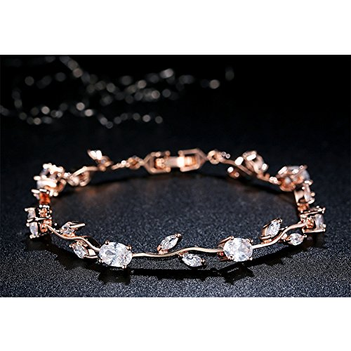 KAVANI Vintage Flower Rose Bracelet 3D Gemstone Tennis Bracelet Diamond Bangle Bracelet