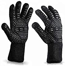 August Collective 1 Pair BBQ Grill Gloves Heat Resistant Kitchen Oven Silicone Non-Slip Glove for Cooking, Baking, Weldin...