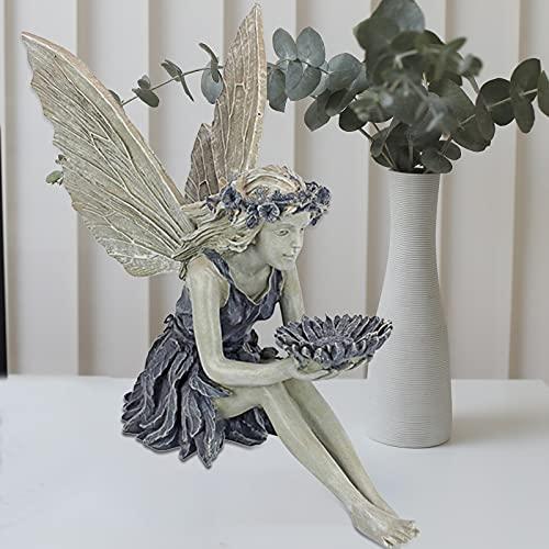 Elfen Gartendeko Feen, Sitzende Engel Elfen Gartenfiguren mit Flügeln und Vogelfuttersilo in Sonnenblumenform, Harz Elfen Figuren Deko Elf Statue für AußEn Landschaftsbau Hof Dekoration Garten Statue