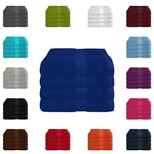 4 tlg. Handtuch-Set in vielen Farben - 4 Handtücher 50x100 cm - Farbe royal