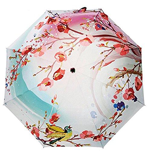 Estwell Travel Compact Art Umbrella Lightweight Foldable Windproof UV Protection Sun Rain Umbrella for Women