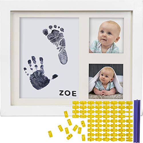 Baby Ink Hand and Footprint Kit - Handprint Picture Frame for Newborns (Safe Clean-Touch Ink Pad for Prints) - Best New Mom and Shower Gift - Foot Impression Photo Keepsake for Girls & Boys - (White)