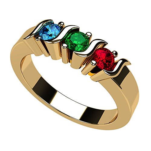 NANA S-Bar Mothers Ring 1 to 6 Simulated Birthstones- 10k Yellow Gold - Size 7
