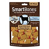 SmartBones SBPB-00211 Mini masticables con Mantequilla de Cacahuete Real, 16 Unidades, masticables sin Piel cruda para Perros
