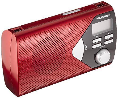 Metronic 477201 - Radio portátil (AM, FM, pantalla LCD), roja