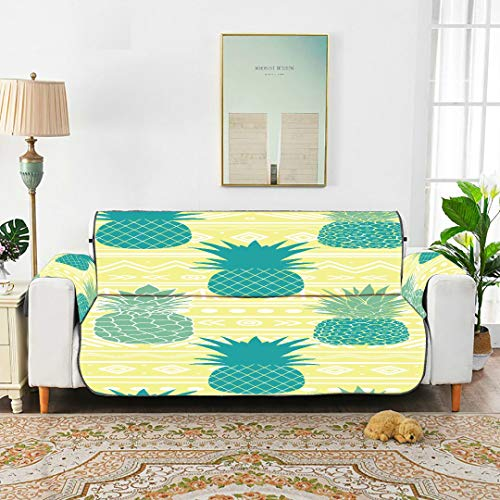 WYYWCY Vector Azul Amarillo Tribal Piñas Vector Backgr Cojines de sofá Fundas de sofá Ajustadas Fundas de sofá Seccional 66'(168 cm) para 3 Asientos Lavado a máquina Silla de Brazo Funda d