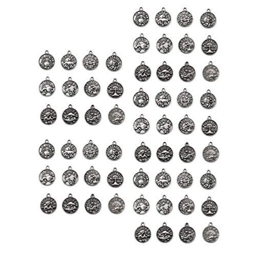 Desconocido Genérico 60 Piezas de Bronce Zodiaco Encanto Redondo de Metal Encantos de Doble Cara 12 Zodiaco Constelación Colgante de Encanto para Pulsera Pendientes Collar Colgantes Fabricación de