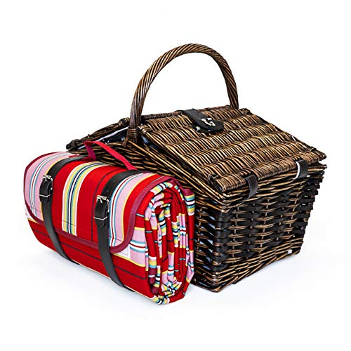 Picnic Basket with All Accessories Included for 4 People | Insulated Picnic Baskets to Keep Food and...