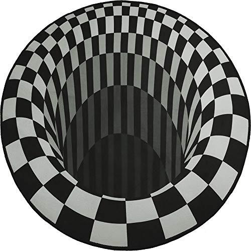 Alfombra Vortex, ZoneYan Alfombra Vortex 3D Redonda, Alfombra de Ilusión Óptica, Alfombra de Ilusión 3D Alfombra Dormitorio, Alfombra Antideslizante Ilusión Óptica Geométrica 3D (78*78cm)