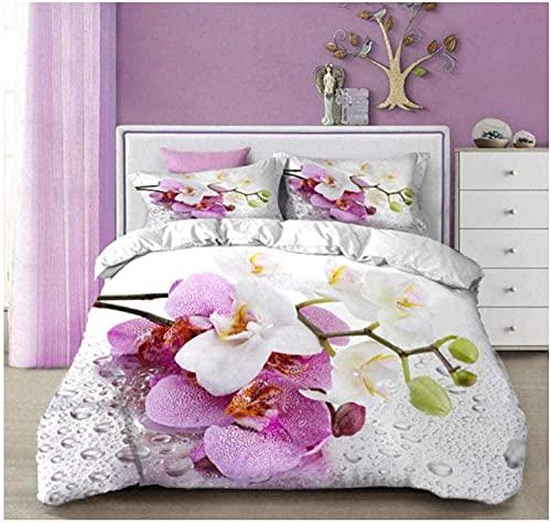 Påslakan sängkläder phalaenopsis supermjukt och mysigt lättskött påslakan täcke sängkläder set – 220 x 230 cm + 2 matchande örngott – 50 x 75 cm