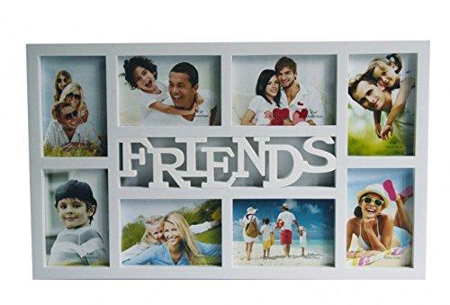 Unbekannt Fotorahmen Friends weiß mit Glas für 8 Fotos 53 x 32 cm Bilderrahmen Rahmen Collage