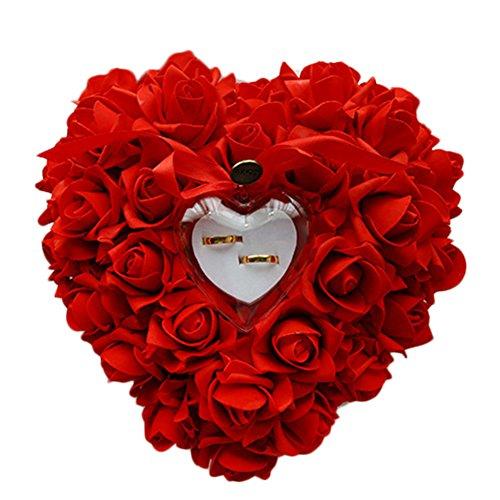 Oyfel Décoré Roses Ruban Coussin Porte-alliances Romantique Wedding Rose Anneau Box Coeur Favors Wedding Ring Oreiller Écrin pour bagues ou dragées en Satin Flora