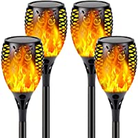 4-Pack Solar Flame Torch with Flickering Flame