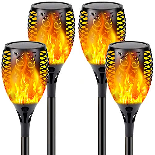 4-Pack Solar Flame Torch (Super Larger Size & Upgraded Vivid Flame), Ultra-Bright Solar Lights Outdoor Decorative with Flickering Flame, Waterproof Outdoor Lights for Garden Landscape Yard Pathway