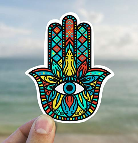 DKISEE Colorful Hamsa Hand Sticker, Evil Eye, Crystal Gift, Novelty Vinyl Decal, Hipster Sticker for Laptop Notebook Luggage Waterbottles Phone Cell, 6 Inch