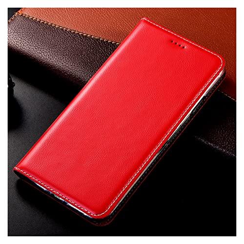 SADDPA DSMYYXGS Estilo Funda De Cuero Genuino For iPhone 12 13 Mini 12 11 Pro MAX 5 5S 6 6S 7 8 Plus X XR XS Cubierta Máxima del Teléfono Móvil (Color : Red, Material : iPhone XR)