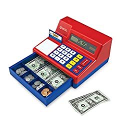 KIDS CASH REGISTER: Working solar-powered calculator GREAT VALUE: Includes 30 actual-size pretend bills, 40 plastic coins, pretend credit card, and activity guide REALISTIC: Makes a cha-ching sound when the drawer opens IMAGINATIVE PLAY: Encourages i...