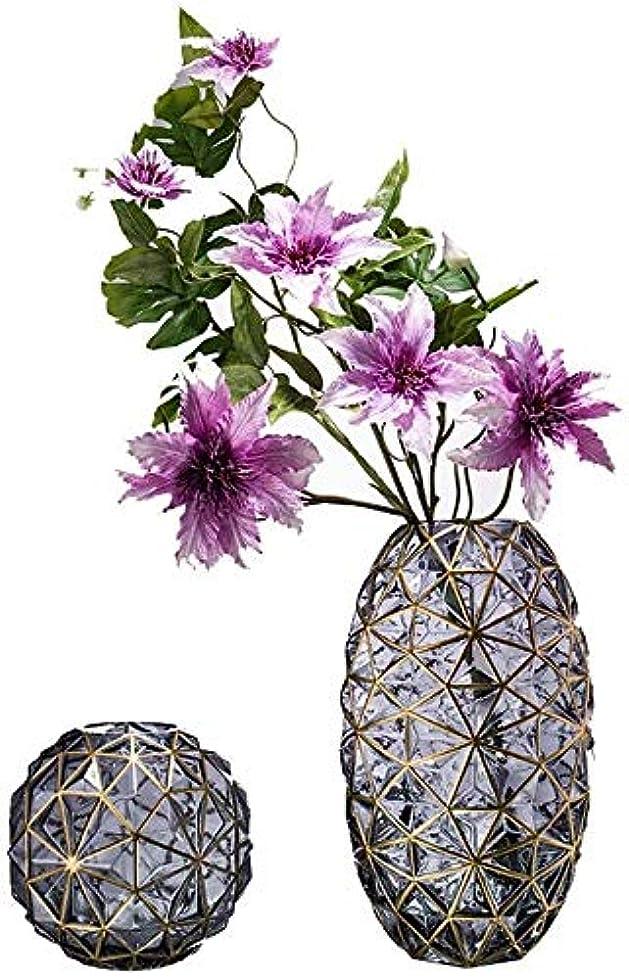 ラリーベルモント行商シート花器 色ガラスの花瓶インテリア装飾花厚いガラスグリーンプノンペン工場フラワーフラワーアレンジメント水耕2点セット16.5 * 22センチメートル 花瓶 (Color : Smokegray)