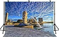HD 7x5ftモダンシティベイの背景シンガポールツーリストリゾートマリーナベイサンズ観光写真のカップル大人のアートポートレート写真の背景小道具LYLS788