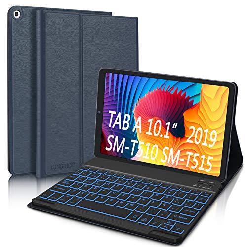 Funda con Teclado para Samsung Galaxy Tab A 10.1 2019 (Español Ñ), DINGRICH Bluetooth Teclado 7 Color Retroiluminación Inalámbrico Extraíble Magnético para Samsung Galaxy Tab A 10.1 T510/T515 Azul