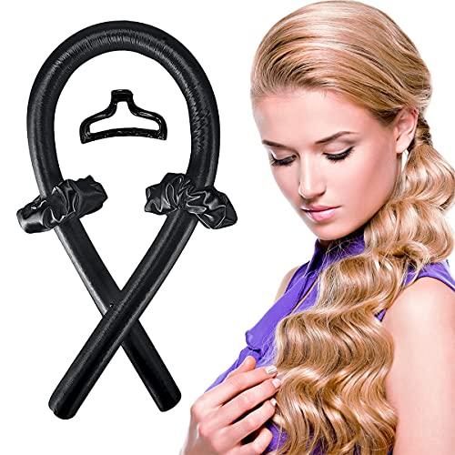 Silk Rulos para el pelo, rizador de pelo, rulos sin calor, cinta de rizos sin calor, cinta suave para el pelo, rizador ondulado, set de peinado (negro)