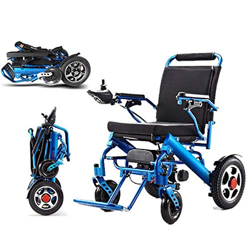 CYGGL Faltbarer elektrischer Rollstuhl, tragbarer Leichter Rollstuhl mit Fernbedienung und doppelter Federung für ältere Menschen, Patienten mit Behinderungen