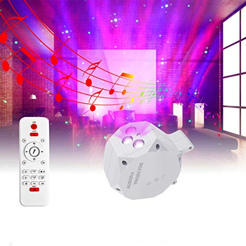 Pinshion Star Projector Light, Bluetooth Speaker Voice Control Christmas Projector Ligh Sky Twilight Star Northern Lights Projection LED Night Projector Light for Bedroom Holidays Party Home