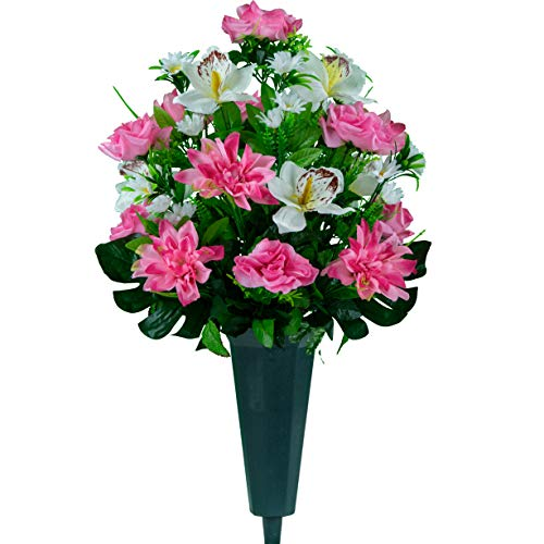 Sympathy Silks Artificial Cemetery Flowers - Realistic Vibrant Roses, Outdoor Grave Decorations - Non-Bleed Colors, and Easy Fit - 1 Pink Dahlia White Orchid Bouquet with a vase