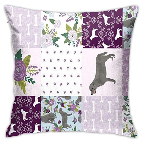 longdai Fundas de almohada de microfibra con cremallera estándar de 45 x 45 cm, diseño de perro plateado