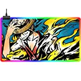 Gaming Mouse Pads Anime One Piece Luffy Large RGB Mouse Pad Cute Colorful LED Gaming Mouse Mat Waterproof Surface Glowing Computer Keyboard Desk Mat for Professional Gamers, Pc, Laptop 31.5x11.8Inch