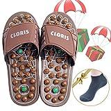 CLORIS Foot Massagers Acupressure Massage Slippers, Powerful Natural Stone Foot Massage Shoes Acupoint Massage Slippers Shoes for Men Women (Men Size 6-8, Women Size 7-9)
