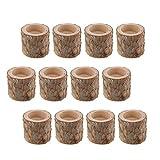 Fenteer 12 Piezas de Madera de Pino Natural Rama de árbol Candelabro de Madera Candelabros Hechos a Mano para Decoración del Hogar