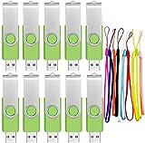 Memoria USB 16 GB 10 Piezas Pen Drives Portátil 16GB PenDrive Económico Kit 10 Unidades Llave USB 2.0 Unidad de Almacenamiento Giratoria Verde Flash Drives con 10pcs Cordones by FEBNISCTE