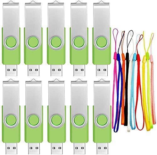 10 pezzi Chiavette USB 8GB Pennetta USB 2.0 - Portatile Pennina USB 8 Giga Pendrive Set Memoria Flash - FEBNISCTE Pen Drive 8 GB Verde Perno con Cordin Ottimo Kit Regalo di Natale per Parenti Famiglia