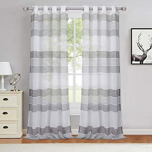 Haperlare Grey Stripe Sheer Window Curtains 84 inches Vintage Boucle Faux Linen Textured Drapes Splicing Yarn Dyed Woven Window Covering Panels Draperies for Dining Room/Guest Room, 2 Panels