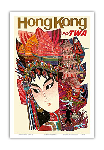 Scott Chorny Hong Kong - Trans World Airlines Fly TWA - Vintage Airline Travel Poster by David Klein c.1960s - Master Art Print - 12in x 18in