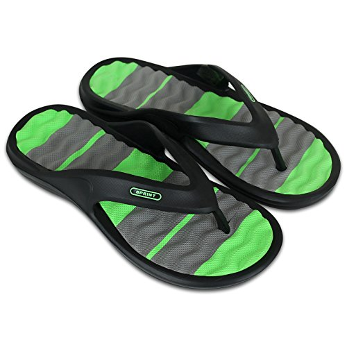 Unbekannt Saunaschuhe - Badeschuhe - Badelatschen - Flip Flops - Herren mit Farbauswahl … (42, schwarz/grün)