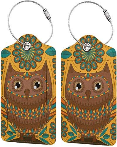 Colorido gatito creativo floral noche búho Lage etiquetas bolsa pu cuero maleta etiquetas diseño viaje con cubierta trasera privacidad W/lazos de acero