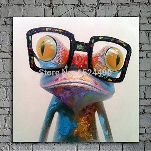 Olieverf, handbeschilderd, op canvas, bonte dierkleuren, karikatuur, Big Eye, kikker, zeer grote afmetingen, ontvangst, moderne werken voor de entree, woonkamer, luier 60 x 60 cm