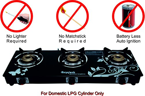 SURYAJWALA Auto Ignition Royal Designer GT03 Cast Iron 3 Burner Gas Stove