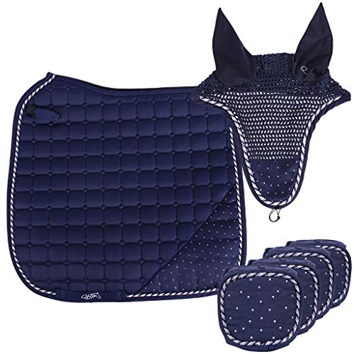 QHP edles Schabracken-Set Sparkle, bestehend aus Passender Schabracke, Bandagen und Fliegenhaube; mit Strass-Steinen (Pony DR, Navy)