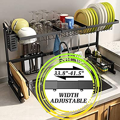 """Dish Drying Rack over Sink, SNTD Width Adjustable?Sink Size ? 40""""?Stainless Steel Kitchen Supplies Storage Counter Organizer, Black from"""
