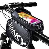 FISHOAKY Borsa Telaio Bici, 360° Rotazione Borsa Cellulare Bicicletta, Impermeabile Bike Frame Bag con Parasole, Doppio Bici Borsa per telefoni sotto 6.5 Pollici