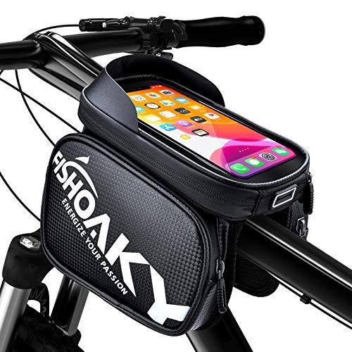 FISHOAKY Borsa Telaio Bici, Borsa Bicicletta Impermeabile Manubrio per MTB BMX Bike TPU Touchscreen 6.5', Accessori Bici con Parasole