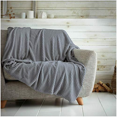 Hachete Waffle Honeycomb - Manta suave y cálida para sofá cama, cama (gris carbón, tamaño King - 200 x 240 cm)