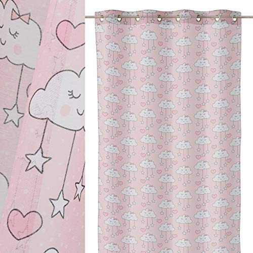 Lola Home Cortina Visillo Rosa de Microfibra Infantil para Dormitorio de 140x260 cm Child