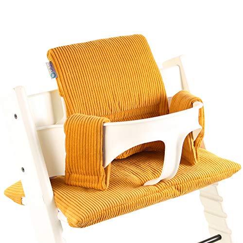 Ukje - Cojin Para Tronas de Bebe Stokke Tripp Trapp 2 Piezas Funda Silla OEKO TEX® Standard 100 Funda Cojin Panal de abejas Práctico Fácil de Limpiar Ocre