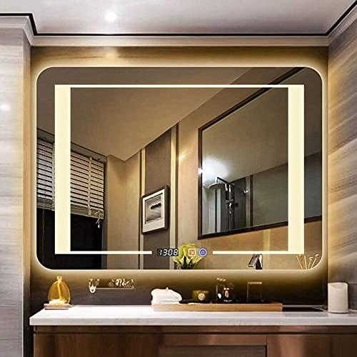 NMDCDH Espejo de baño LED antiniebla, Rectangular sin Marco, Espejo de tocador Iluminado, Interruptor táctil + Pantalla de Tiempo con Accesorios de baño 60 * 80cm